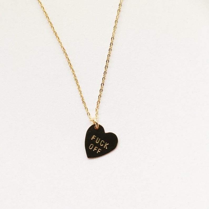 FCK OFF Heart Charm Necklace image 0