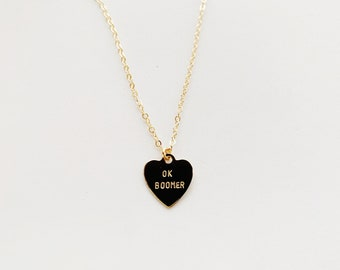 OK BOOMER Heart Charm Necklace