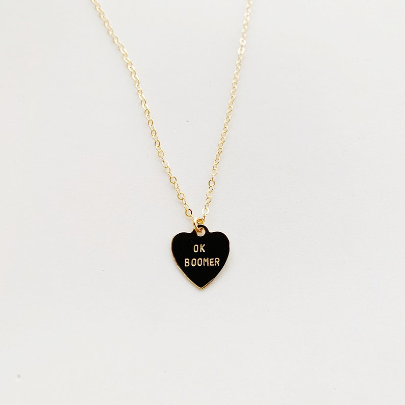 OK BOOMER Heart Charm Necklace image 0