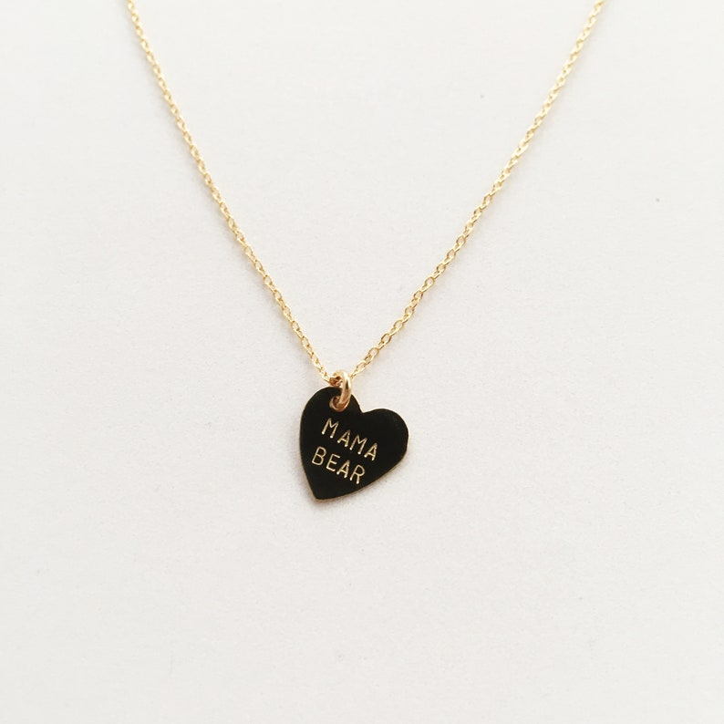 MAMA BEAR Heart Charm Necklace  Mother's Day image 0