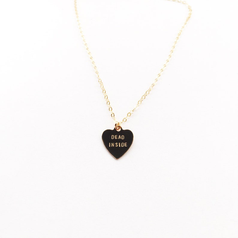 DEAD INSIDE Heart Charm Necklace image 0