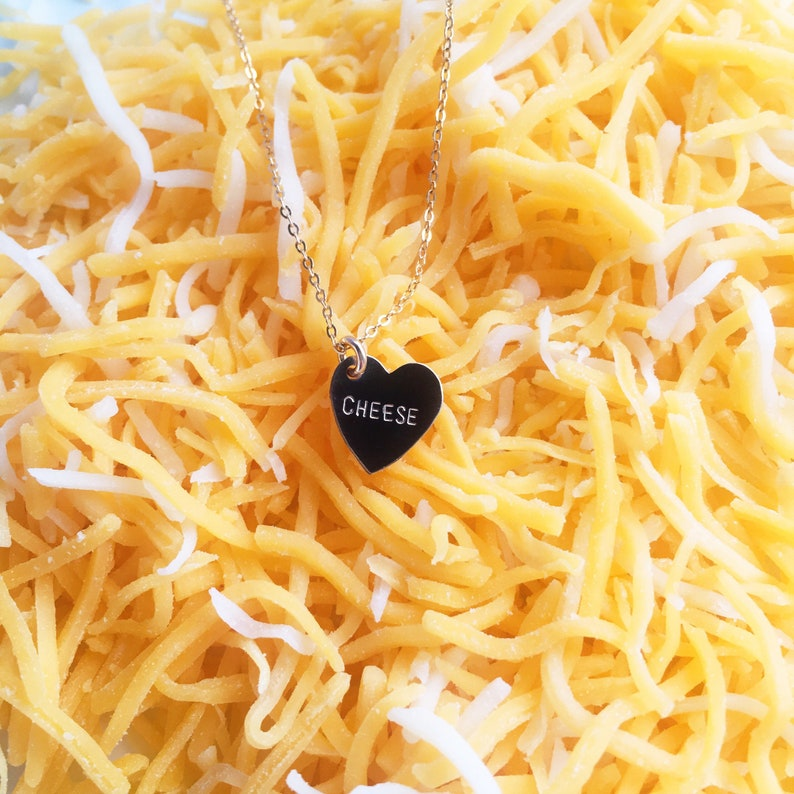 CHEESE Heart Charm Necklace image 0