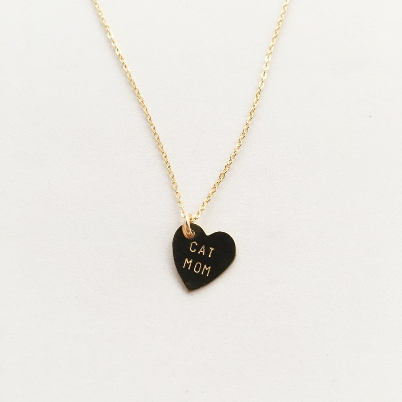 CAT MOM Heart Charm Necklace  Mother's Day image 0