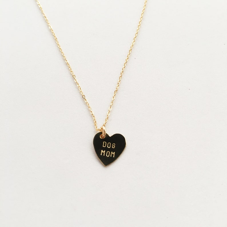 DOG MOM Heart Charm Necklace  Mother's Day image 0