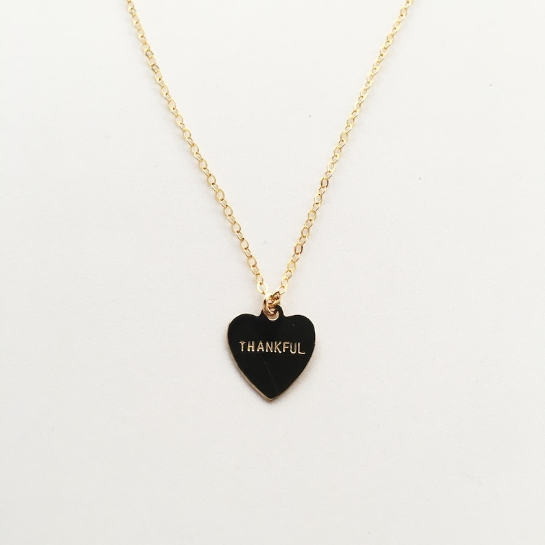 THANKFUL Heart Charm Necklace image 0