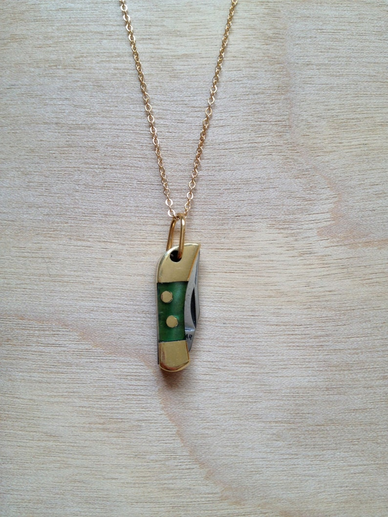 Mini Pocketknife Necklace  Green image 0