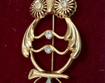 Owl pin brooch rhinestones