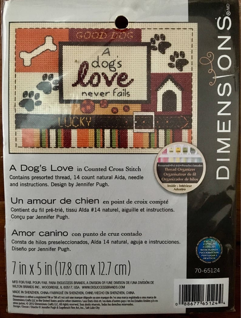 Dog Dimensions cross stitch A Dog's Love kit