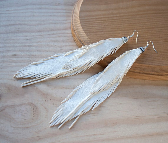 Gold and White Leather Orange White Feather Gold Bar Earrings Suede Earrings Boho Jewelry Real Leather White Gold Earrings Boho Skinny