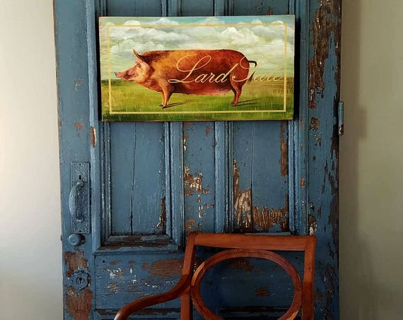 Lard Sale original acrylic painting on repurposed wood