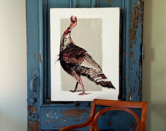 Willd Turkey Strut original acrylic painting on repurposed wood
