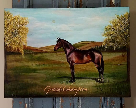 Grand Champion an original acrylic painting on repurposed wood