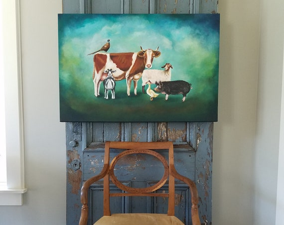 Pals on the Farm,an original acrylic painting on Canvas