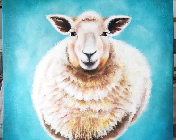 Fuzzy Sheep, original acrylic painting on Canvas