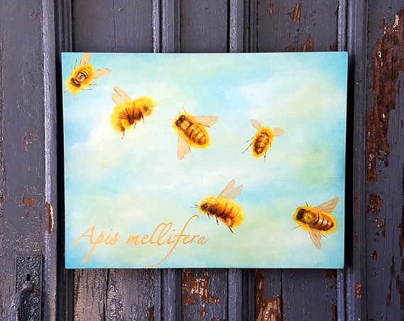 Honey Bee an original acrylic painting on repurposed wood board