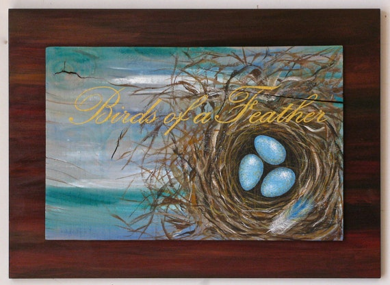 Egg & Nest original painting on reclaimed rustic solid wood