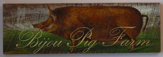 Pig painting original Bijou Pig Farm acrylic on rustic reclaimed solid wood
