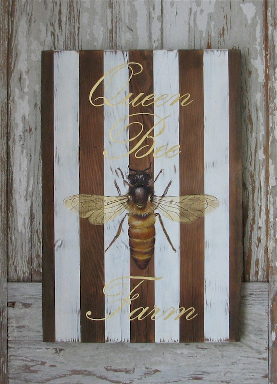 QueenBee original acrylic Painting on repurposed wood