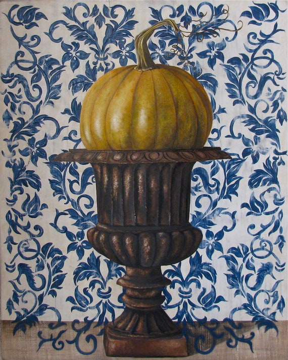 Pumpkin Season original acrylic painting on re-purposed wood