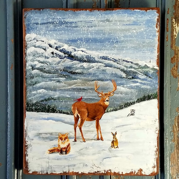 Friends in the Forest, original acrylic painting on repurposed solid wood vintage barn board