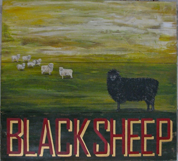 Black Sheep original acrylic painting on re-purposed wood