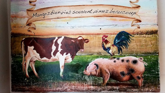 Eat Well, Laugh often, Love abundantly an original acrylic painting on repurposed solid wood barn board