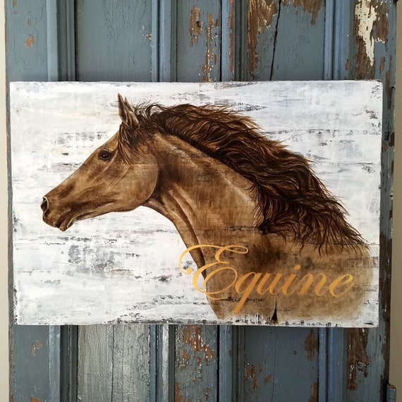 Equine an original painting on reclaimed rustic wood board