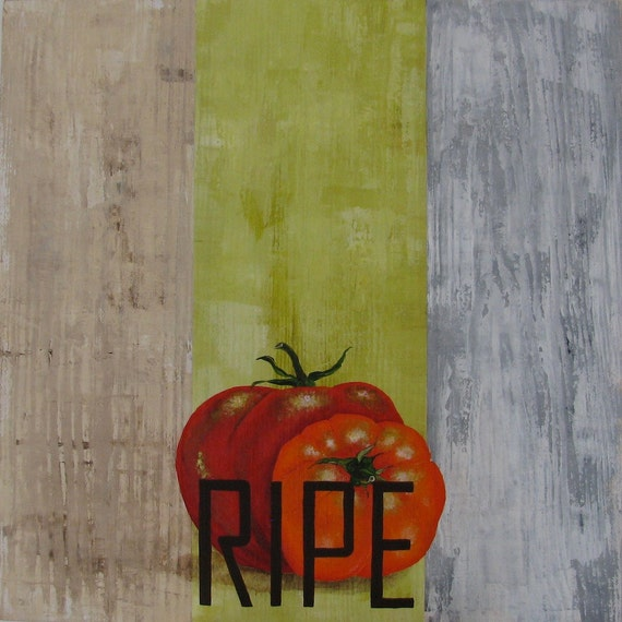 Ripe original kitchen decor  acrylic painting of tomatoes on reclaimed bleacher wood