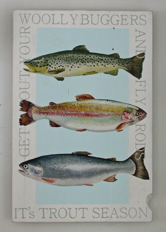Trout Season original acrylic painting on re-purposed wood panels