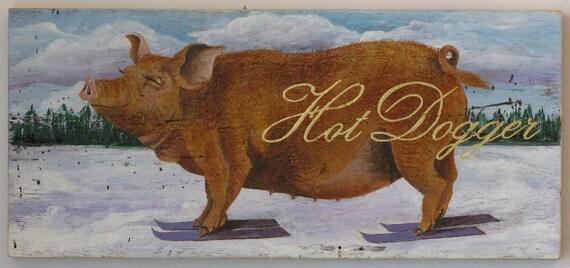 Skiing Pig Painting, Original Painting
