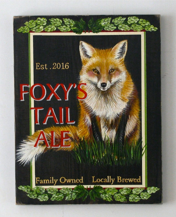 Foxy's Tail Ale original acrylic painting on re-purposed wood