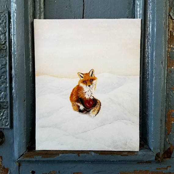 Fox in Love an original acrylic painting