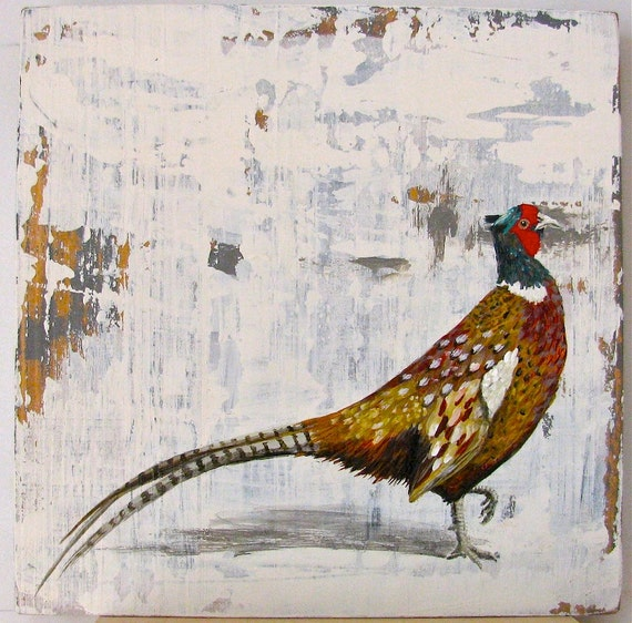 Pheasant, Walk in the Woods original acrylc painting on re-purposed wood