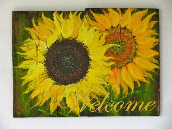Welcome Sunflower, acrylic on salvaged wood