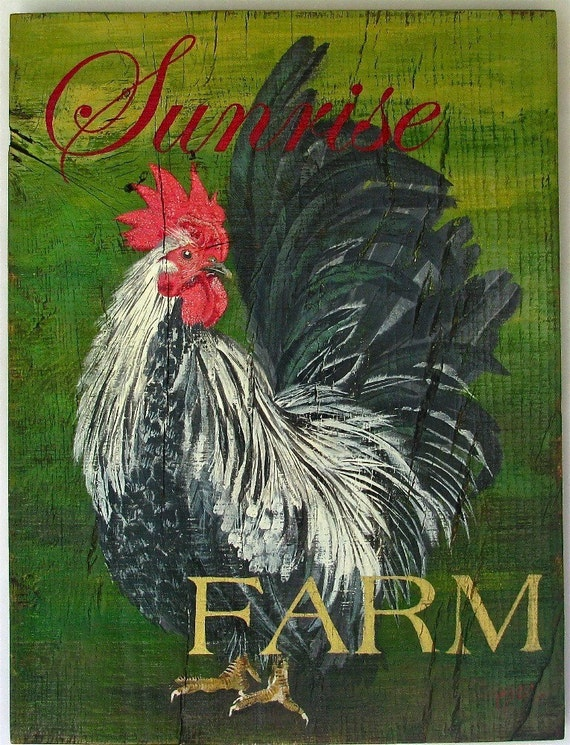 Rooster Original acrylic painting Sunrise Farms on reclaimed rustic solid wood board