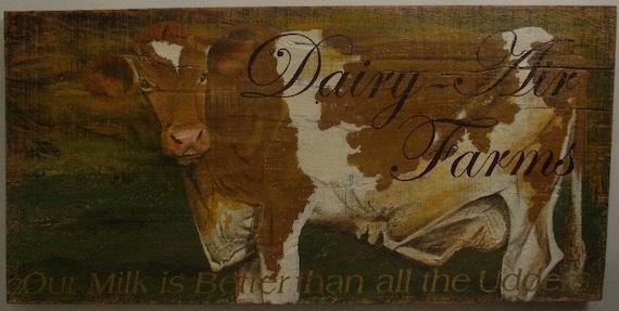 Cow, original acrylic painting on reclaimed rustic soid wood board, Dairy Air Farm