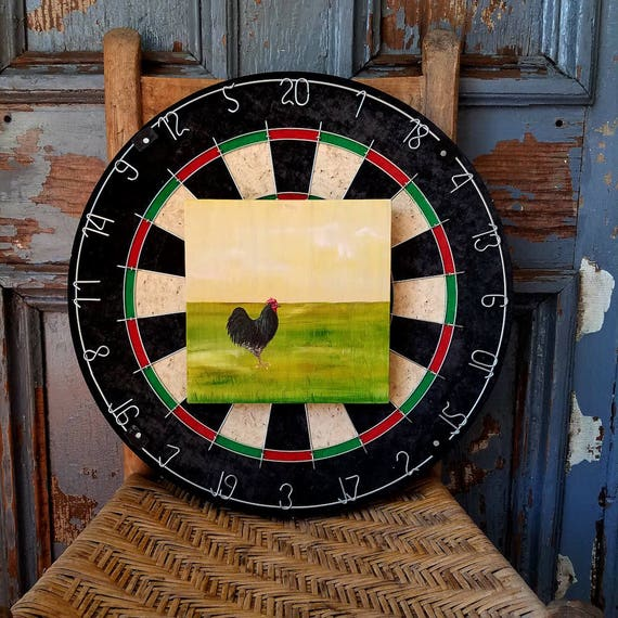 Black Rooster Farm scene, original acrylic painting on re-purposed wood