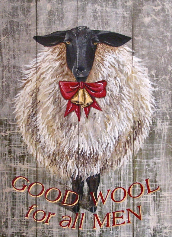 Holiday Sheep original acrylic painting on reclaimed rustic solid wood