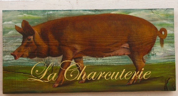 Pig painting on reclaimed rustic solid wood