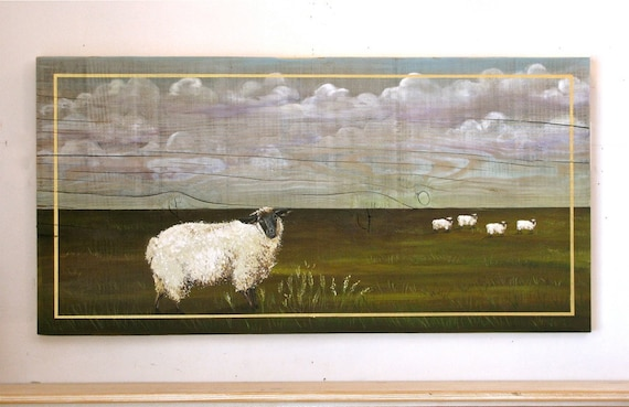 Sheep in the Field,  acrylic painting on reclaimed rustic solid wood board