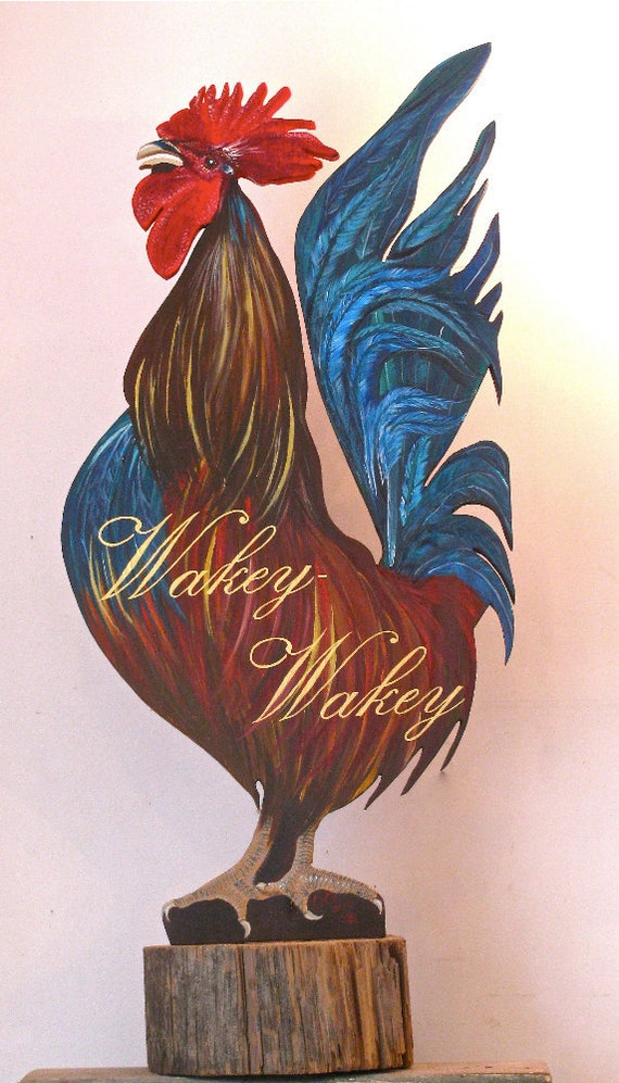 Rooster ,free standing acrylic painting hand cut