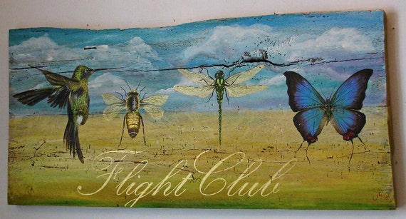 Decorative bug and bird painting, Flight Club, acrylic on reclaimed rustic solid wood board