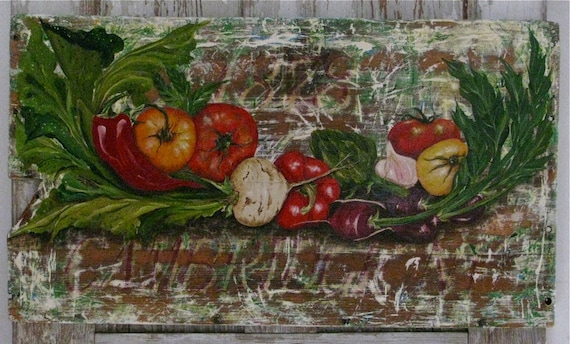 Vegetables original acrylic painting on reclaimed rustic solid wood
