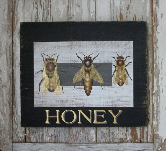 Honey original acrylic paintingon repurposed wood