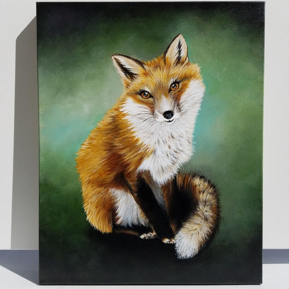 Fox Portrait original acrylic painting on canvas