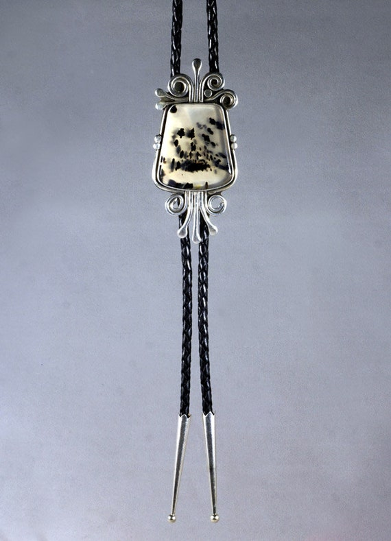 Bolo Tie Montana Agate and Sterling silver