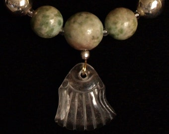 Crystal Shell and Greenstone necklace