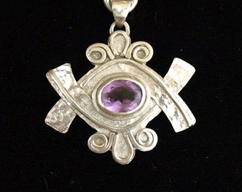 Amethyst Pendant and Silver Chain
