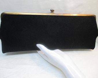 Vintage INGBER Long Black Suede Clutch