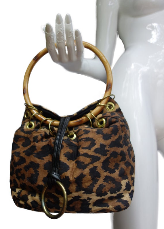 ROGER VAN S 60s Animal Print Fabric Purse with Rou